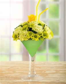 gifts: Green and Yellow Flowers in a Wine Vase!