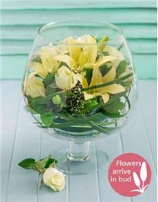 flowers: White Flowers in a Brandy Vase!