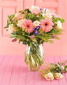 flowers: Pink Gerbera & Tulip Vase!