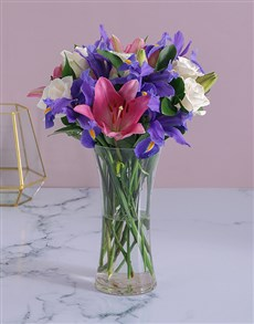 flowers: Roses and Irises in a Flair Vase!