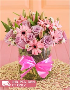 flowers: Gerberas and Roses in a Round Vase !