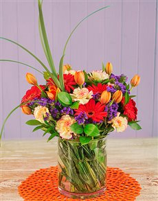 flowers: Gerberas and Tulips in a Glass Vase!