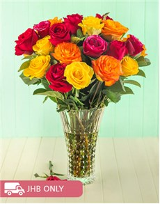 flowers: Mixed Rose in Cristal DArques Lady Diamond Vase!