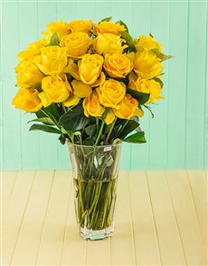 flowers: Yellow Roses in Cristal DArques Elixir Vase!