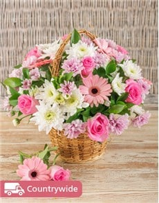 Picture of Mixed Pink Basket Display!