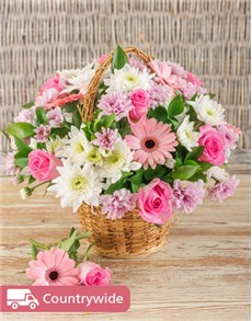 flowers: Mixed Pink Basket Display!