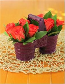 flowers: Orange Roses in Duo Pot!