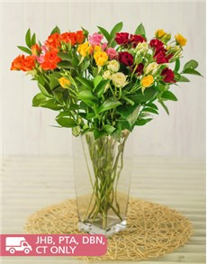 flowers: Kenyan Cluster Mixed Roses in a Vase!