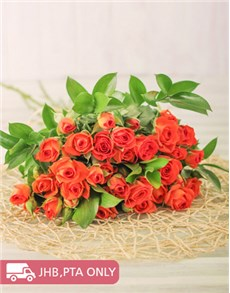 flowers: Kenyan Cluster Orange Rose Bouquet!