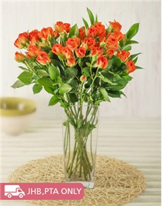 flowers: Kenyan Cluster Orange Roses in Vase!