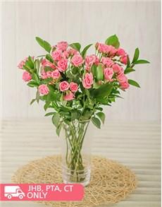 flowers: Kenyan Cluster Pink Roses in Vase!