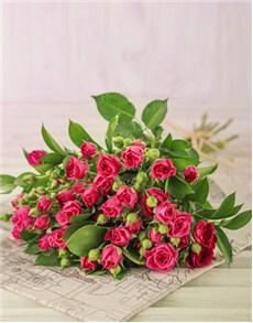 flowers: Kenyan Cluster Cerise Rose Bouquet!