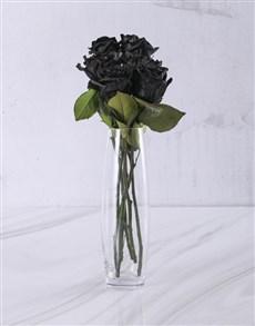 flowers: Black Roses in Glass Vase!