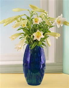 Flowers: Beautiful Blue Coloured Glass Vase with St Joseph!