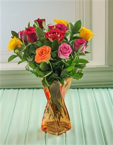flowers: Mixed Roses in an Orange Twisty Vase!