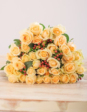 Flowers: Cream Roses in Brown Wrapping!