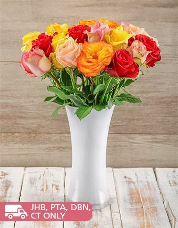flowers: Colourful Giant Ethiopian Roses in a White Vase!