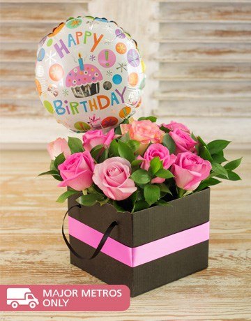 buy mixed pink roses with balloon online  netflorist, Beautiful flower