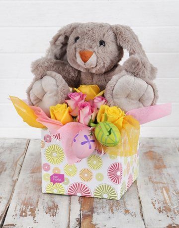 Buy rosey easter egg and bunny box online netflorist flowers rosey easter egg and bunny box negle Images