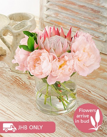 Flowers: Peonies And King Protea Vase!