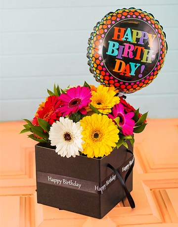 Flowers: Happy Birthday Mini Gerbera Box with Balloon!
