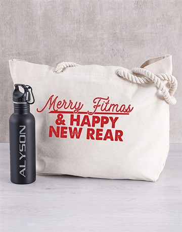 christmas: Personalised Merry Fitness Beach Bag and Bottle!