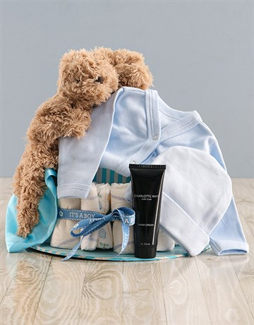 baby: Some Bunny Loves Mommy and I Blue Nappy Cake!