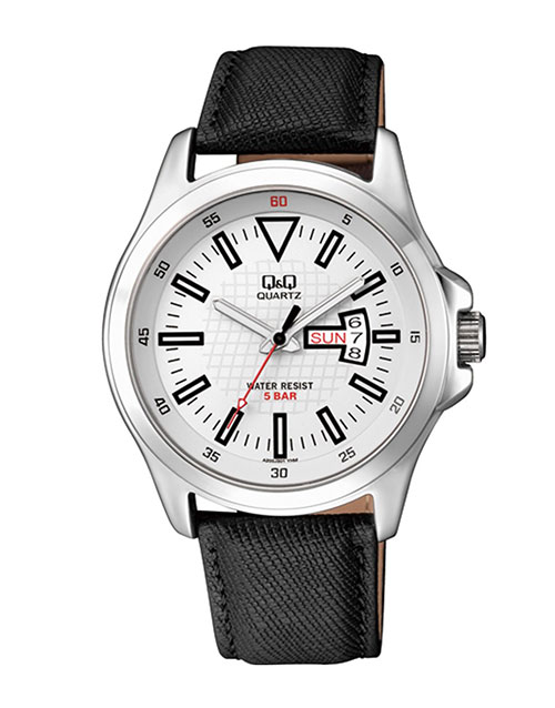 anniversary: QQ Steel White Dial Black Leather Strap Watch!