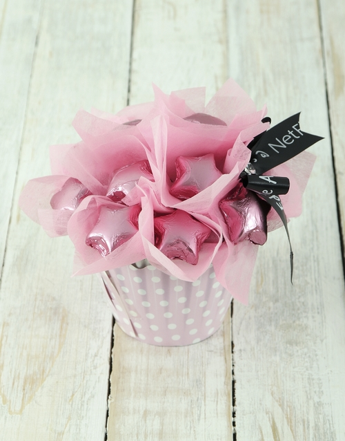 edible-chocolate-arrangements: Pink Star Cupcake Arrangement!