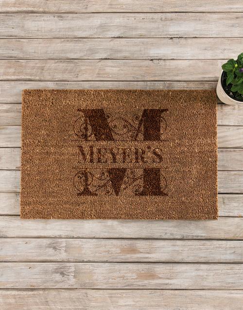 personalised: Personalised Family Initial Coir Doormat!