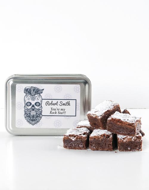 brownies: Personalised Rocker Chocolate Chunk Brownie Tin!