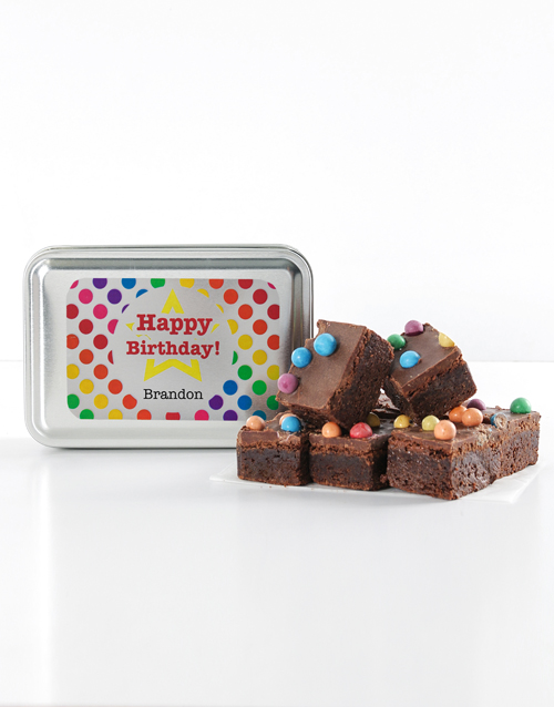 gifts: Personalised Polka Dot Birthday Astro Brownie Tin!