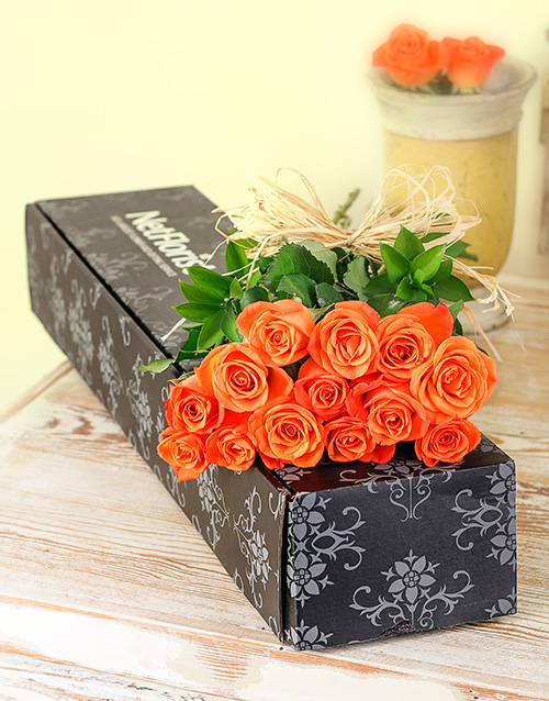 colour: Orange Roses in a Box!