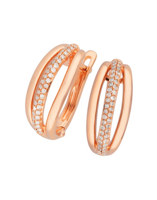 anniversary: 9KT Rose Gold Diamond Tripple Bar Hoop Earrings!