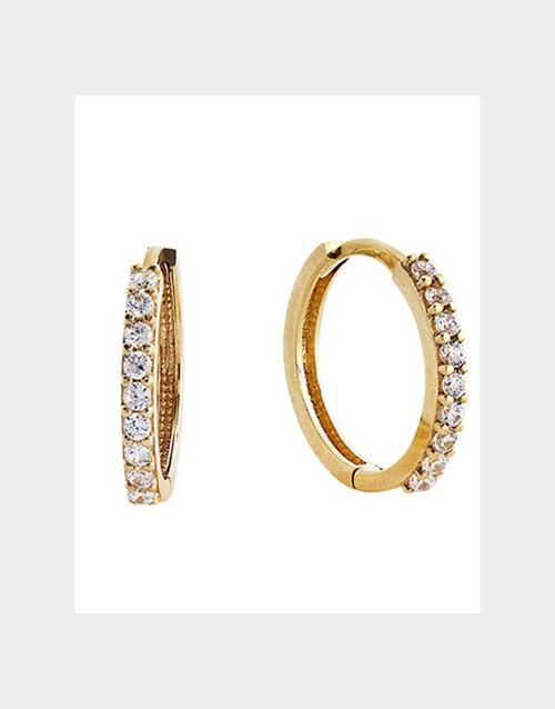 anniversary: 9kt Yellow Gold Cubic Zirconia Hoop Earrings!