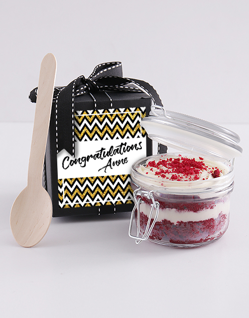 bakery: Personalised Congrats Red Velvet Cake Jar!