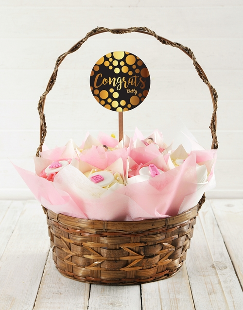 bakery: Personalised Baby Girl Congrats Cupcake Bouquet!