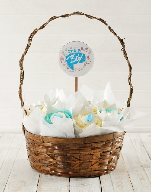 cupcake-bouquets: Personalised Baby Boy Cupcake Bouquet!