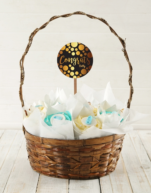 cupcake-bouquets: Personalised Baby Boy Congrats Cupcake Bouquet!