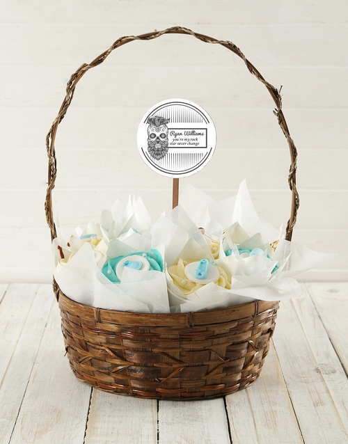cupcake-bouquets: Personalised Rocking Baby Boy Cupcake Bouquet!