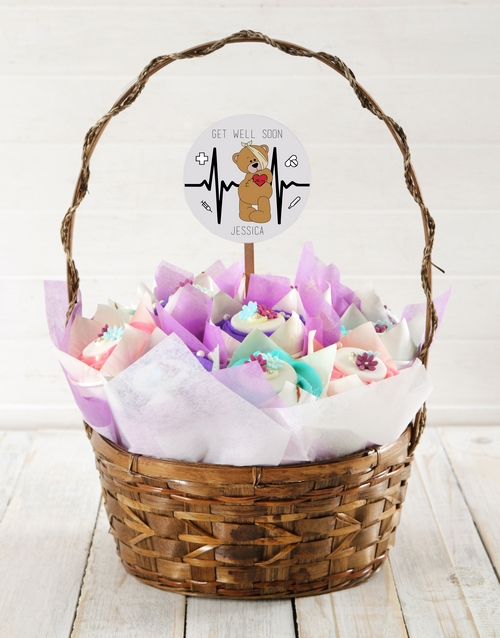 cupcake-bouquets: Personalised Teddy Get Well Cupcake Bouquet!