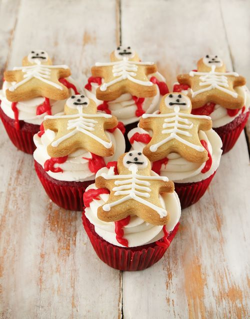 gifts: Skeleton Red Velvet Cupcakes!