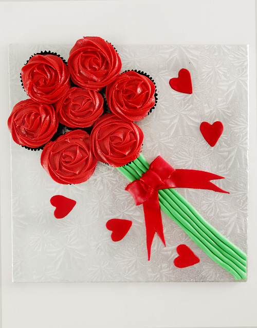 bakery: Red Rose Bouquet of Chocolate Cupcakes!