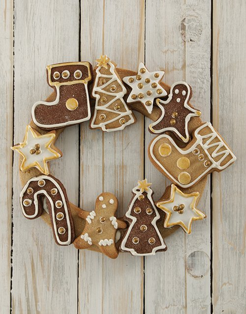 christmas: Gold and Ginger Christmas Cookie Wreath!