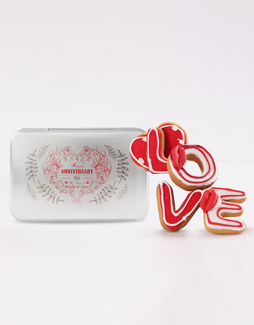 personalised: Personalised Anniversary Love Cookie Tin!