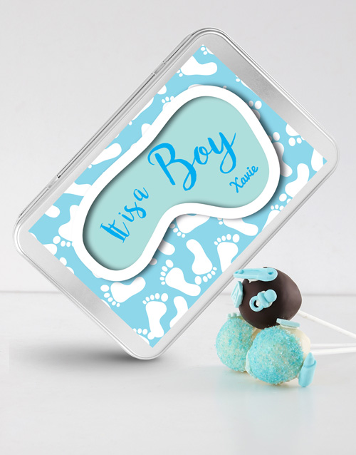 cake-pops: New Baby Boy Cake Pops in a Personalised Tin!