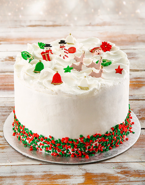bakery: Green and Red Festive Rainbow Cake!