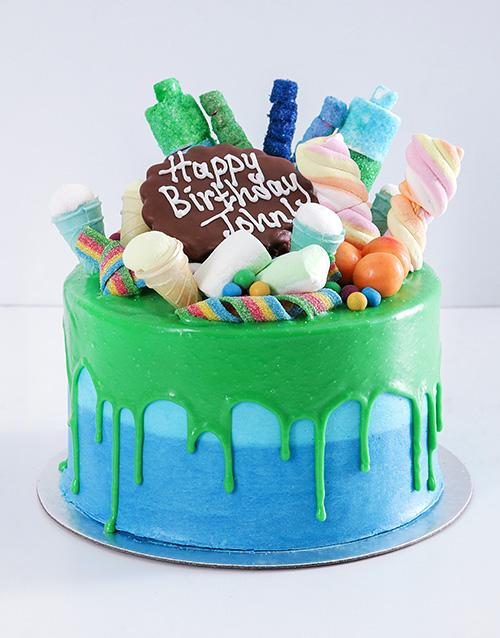 cakes: Personalised Blue Magic Drip Cake!