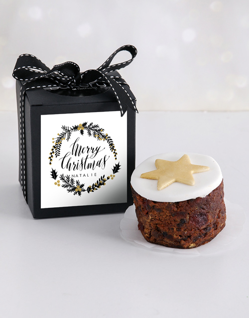 christmas: Personalised Gold Christmas Cake in a Box!