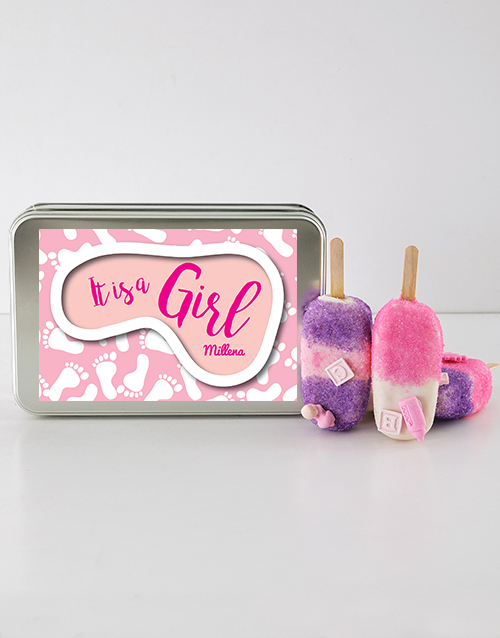 personalised: Baby Girl Cakes on a Stick in a Personalised Tin!